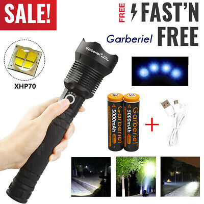 900000 Lumens Zoomable XHP70 LED USB Rechargeable Flashlight Torch Super Bright 2