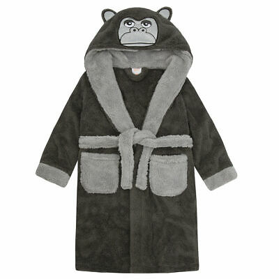 New Boys Novelty Gorilla Panther Robe Hooded Soft Fleece Dressing Gown Xmas Gift 3