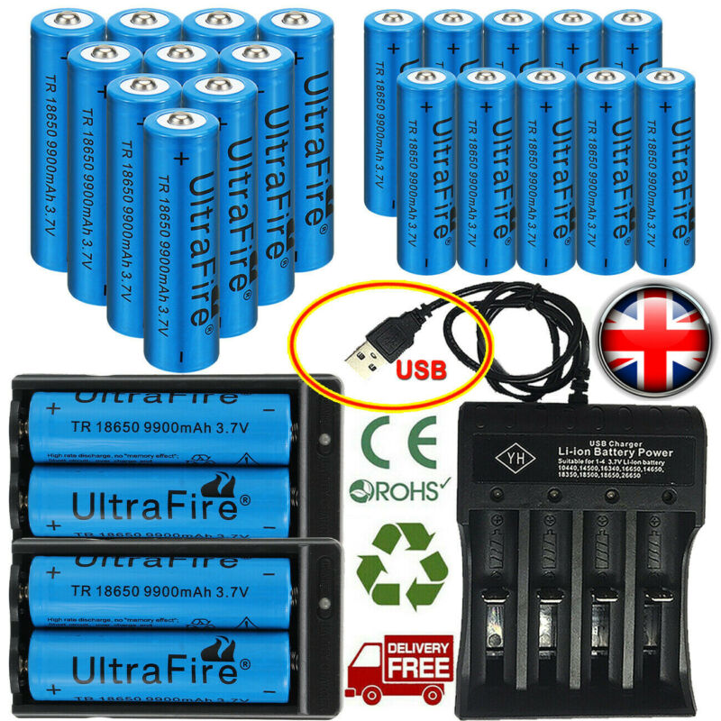 9900mAh 18650 Rechargeable Battery Li-ion Lithium 3.7V With Charger Cell UK 2