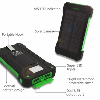 50000mah Solar Power Bank 2 LED 2 USB Waterproof Battery Charger for Cell Phone 10
