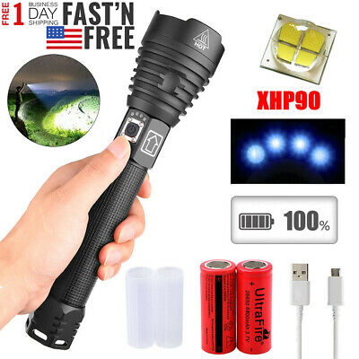 990000LM xhp90 xhp70 xhp50 Ultra Bright LED 18650 Rechargeable Zoom Flashlight 3
