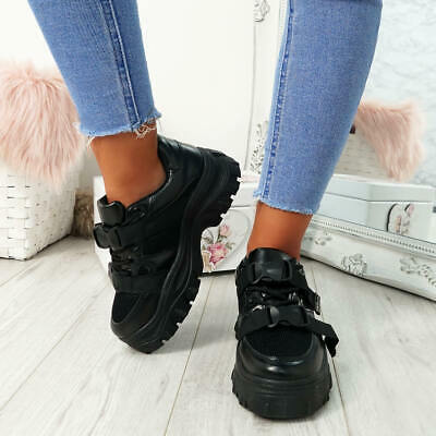 Womens Ladies Buckle Chunky Trainers Platform Sneakers Party Casual Shoes Size 6