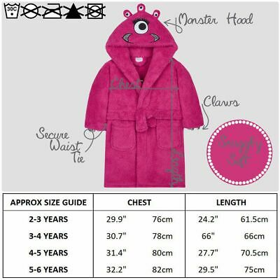 Girls Monster Dressing Gown Robe Snuggle Fleece Pink Kids Childrens Novelty 4