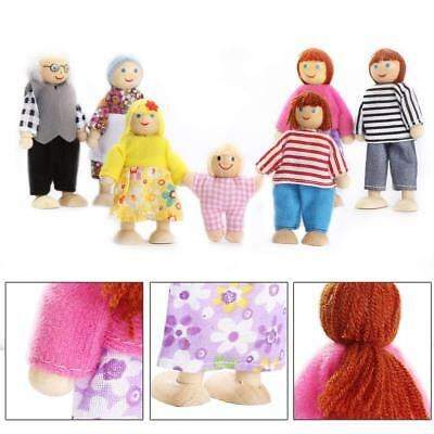 UK Wooden Furniture Dolls House Family Miniature 7 People Doll Kids Children Toy 5