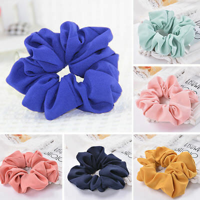 Girls Lady Pure Color Trendy Hair Ring Elastic Bobble Sports Dance Scrunchie IL 2