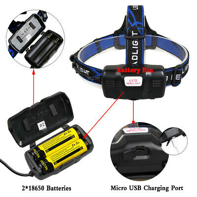 650000Lumen T6 LED Zoomable Headlamp USB Rechargeable 18650 Headlight Head Light 8