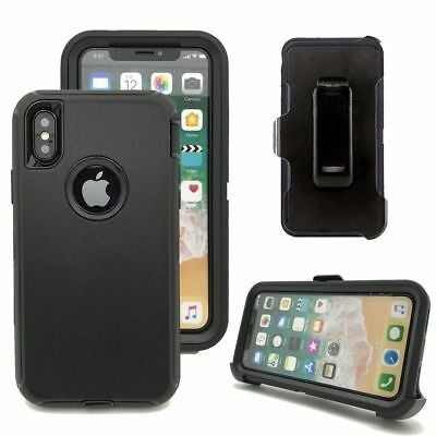 Case Cover For iPhone X  iPhone XS w /Holster Clip Hybrid Shockproof Heavy Duty 4