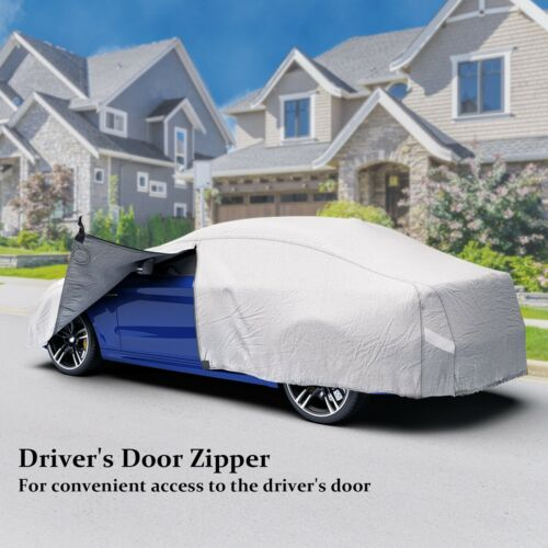Outdoor Waterproof 3 Layer M Full Car Cover 100% Breathable UV Protection Indoor 6