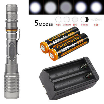 Tactical Police 990000Lumens T6 LED 5 Modes 18650 Flashlight Aluminum Zoom Torch 2