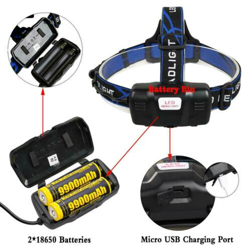 350000Lumen LED T6 Zoomable Headlamp USB Rechargeable Headlight 18650 Head Light 8