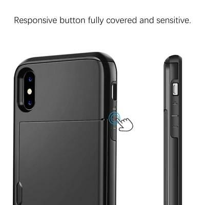 iPhone X XS Max XR 8 7 Case Slide Armor Wallet Card Slots Holder Cover for Apple 3