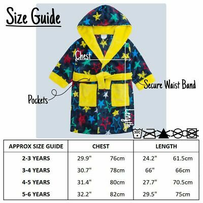 Boys Star Print Dressing Gown Robe Soft Plush Fleece Hooded Fluffy Colourful 3