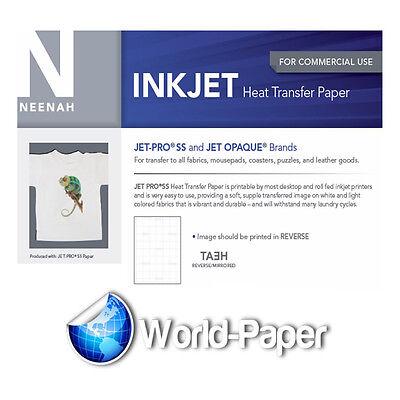 """JET-PRO Soft Stretch inkjet Heat Transfer Paper 8.5"""" x 11""""  25 Sheets Pack"""