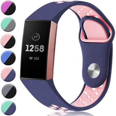 Sport Replacement For Fitbit Charge 3 Silicone Watch Band Bracelet Strap Soft UK 4