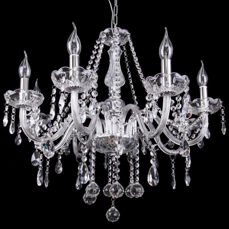 6 flammiger esstisch decken h nge leuchte lampe wohnzimmer kristall kronleuchter eur 70 00. Black Bedroom Furniture Sets. Home Design Ideas