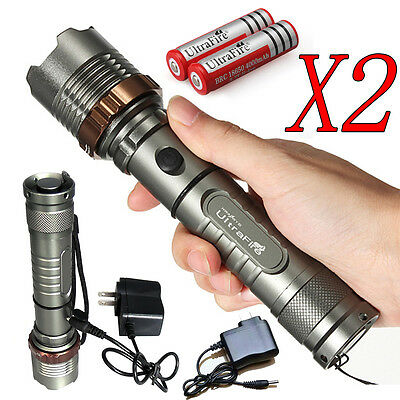 2 x Police Tactical 10000LM CREE XM-L T6 LED Flashlight Torch + Battery+ Charger 11