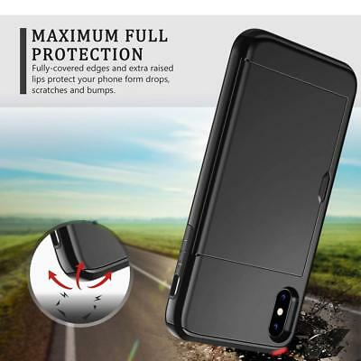 iPhone X XS Max XR 8 7 Case Slide Armor Wallet Card Slots Holder Cover for Apple 6