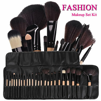 32pc Purple Professional Soft Cosmetic Eyebrow Shadow Makeup Brush Set +Bag Case 6