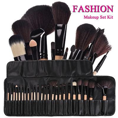 32pc Purple Professional Soft Cosmetic Eyebrow Shadow Makeup Brush Set +Bag Case 6