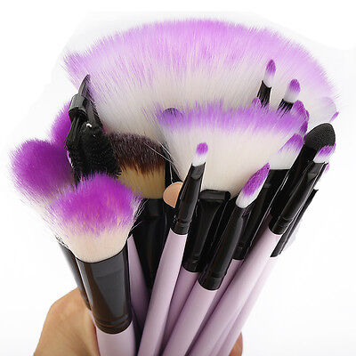 32pc Purple Professional Soft Cosmetic Eyebrow Shadow Makeup Brush Set +Bag Case 11