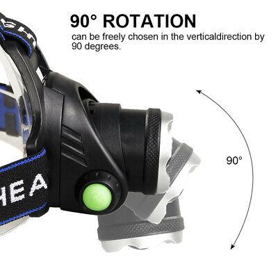 450000Lumen T6 LED Zoomable Headlamp USB Rechargeable 18650 Headlight Head Light 3