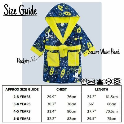 Boys Space Print Dressing Gown Robe Soft Plush Fleece Hooded Fluffy Colourful 3