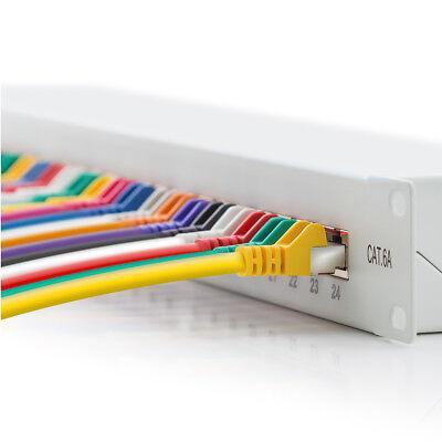 deleyCON CAT6a Patchpanel 24 Port Netzwerk Verteilerfeld geschirmt LSA Lichtgrau