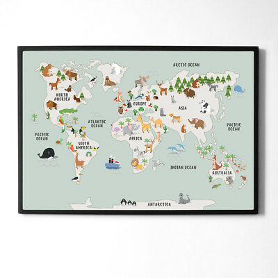 Children's A1 Animal Map of the World Large Poster Print Wall Art for Kids Room 3