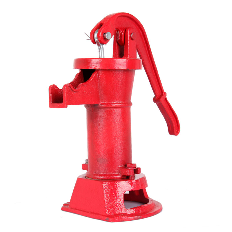 Cast Iron Well Pitcher Pump Heavy Duty Hand Water 25 ft Max Lift Shallow Yard CA 3