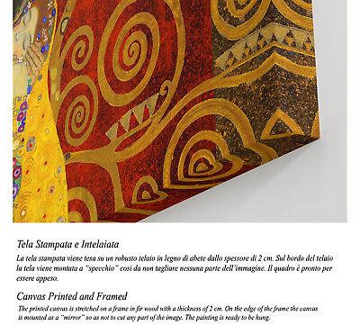 Quadro Klimt IL Bacio Rosso Stampa su TELA - Vernice Pennellate Effetto Dipinto