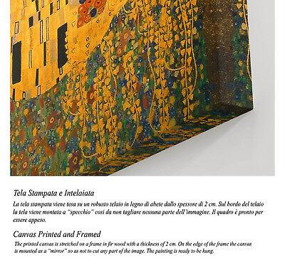 Quadro Klimt IL Bacio Stampa su Tela Canvas Vernice Pennellate Effetto Dipinto 2