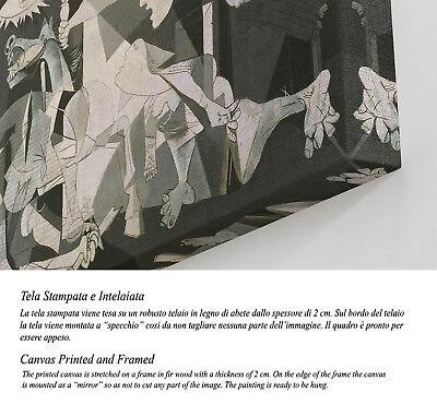 Quadro Picasso Guernica Stampa su Tela Canvas Vernice Pennellate Effetto Dipinto 2