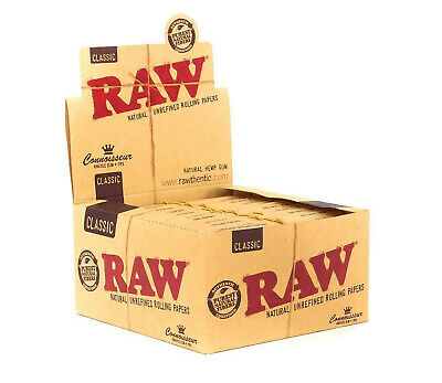 Full Box of 24 Booklets RAW Connoisseur King Size Slim Rolling Papers with Tips 5
