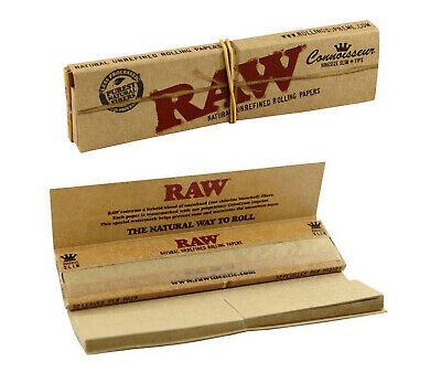 Full Box of 24 Booklets RAW Connoisseur King Size Slim Rolling Papers with Tips 6