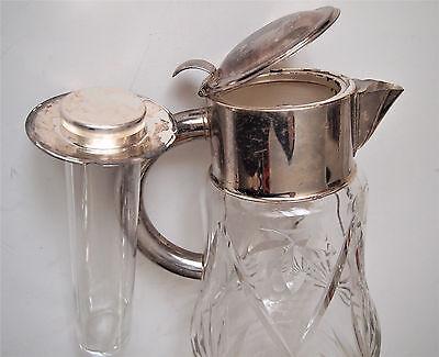 VTG W. Germany Cocktail Cut Glass Claret Jug/ Cooler Inside Silver plated Collar 8