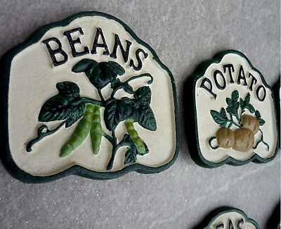 Cast Iron Garden PEAS Vegetable Patch Sign Marker Stake