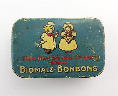 #e8275 Alte Blechdose Biomalz Bonbons mit original Werbezettel innen sehr selten 7