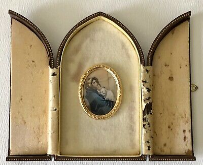 Vtg Italian Leather Case Miniature Hand Painted Holy Religious Madonna Celluloid 5