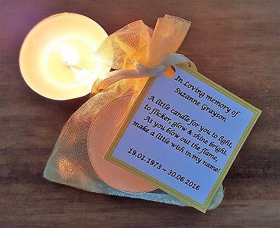 Personalised candle favour memorial funeral keepsake -memory bereavement loss 2