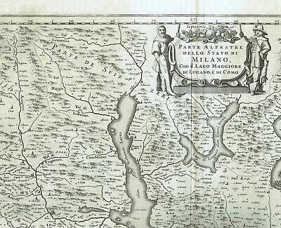 Cartina Lombardia Laghi.Milano 1664 Blaeu Carta Geografica Mappa Originale Lago Como Maggiore Lombardia Eur 399 00 Picclick It