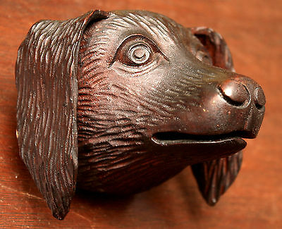 "Part- 19th c Renaissance Victorian carved dog head, walnut, 4""w 7"
