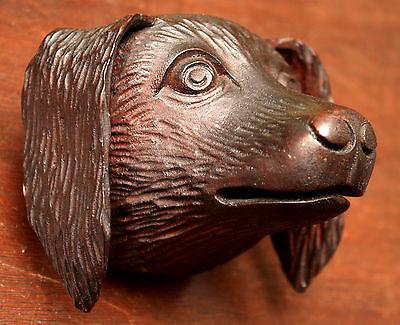 "Part- 19th c Renaissance Victorian carved dog head, walnut, 4""w 7"