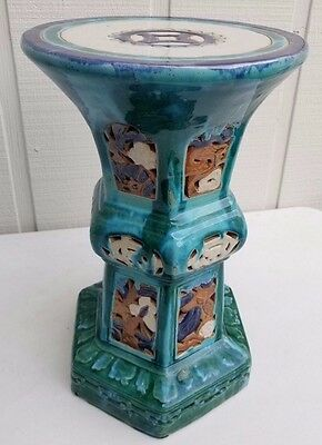 "20"" Antique Chinese Flambe Drip Glaze Pottery Turquoise Porcelain Alter Table 9"