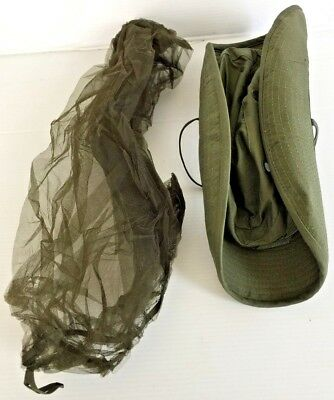 1f277a2eaf398 ... Unissued Original 1969 Vietnam O.d. Jungle Boonie Hat W insect Net 6 7 8
