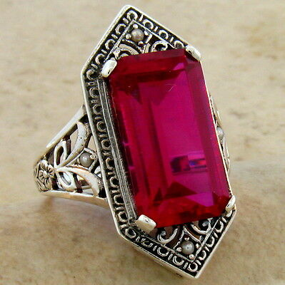 9 Ct. Lab Ruby Antique Victorian Design .925 Sterling Silver Ring Size 10,  #473 3