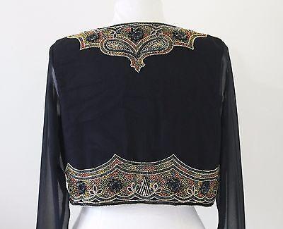 JASDEE Bolero Beaded Jacket Long Sheer Sleeve Hand Work On Chiffon #786 3