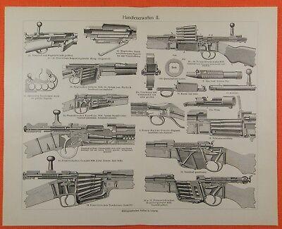 Handfeuerwaffen M98 M85 M91 Spencer Remington Uxz 3 Tafeln von 1902 M6 /& Text