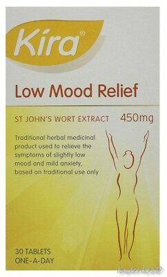 60 Kira Low Mood Relief St John's Extract 450mg Tablets (2 x 30) Exp 10/2020 2