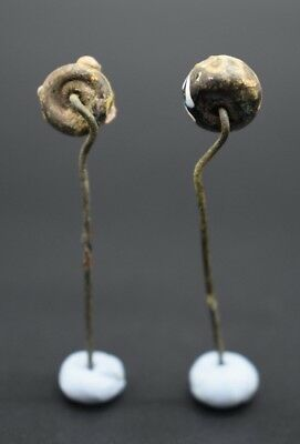 Group of 2 ancient Phoenician decorated glass pins 2nd - 1st millennium BC 5