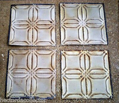 SALE 2 Antique Ceiling Tin Tiles Frame Simple and Elegant Shabby Chic Canvas